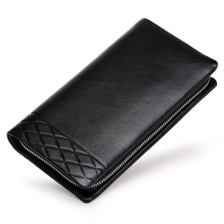 男士时尚压花手包男长款钱包